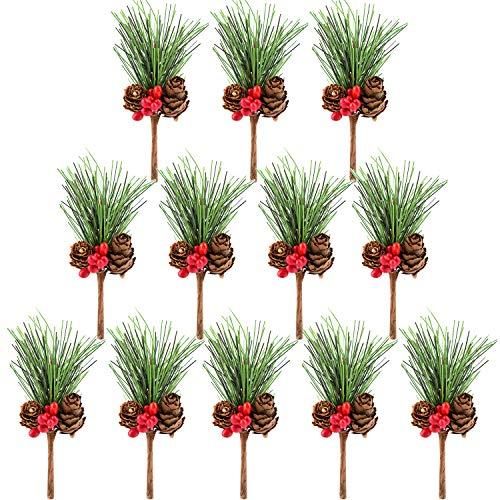Tuparka 12 pcs cono di pino artificiale primi decori di bacche di agrifoglio picks per le composizioni floreali di natale ghirlande decorazioni e artigianato di festa e progetti floreali decorazioni