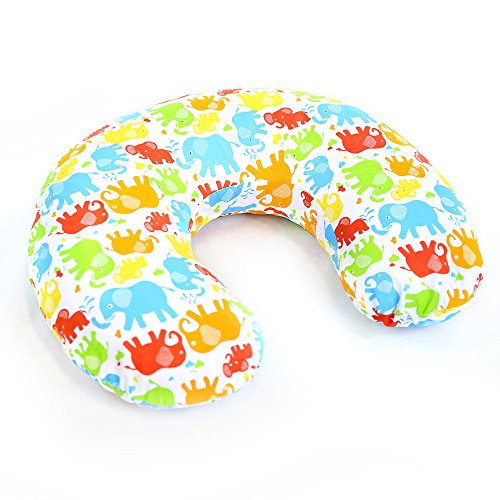 BABY BREAST FEEDING PILLOW NURSING MATERNITY PREGNANCY + REMOVABLE COTTON COVER (Colorful elephants)