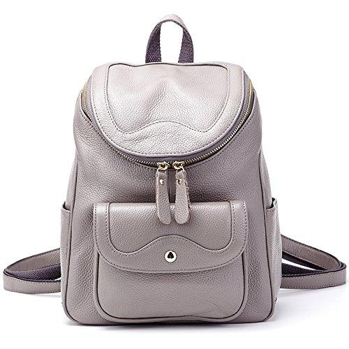 Mefly Onorevoli Zaino In Pelle Semplice Trend Di Moda Il Primo Strato Di Pelle Tempo Libero Bag Black Elephant grey