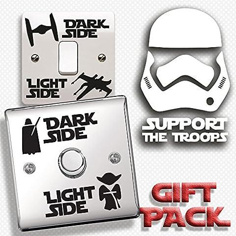 Inspired Walls® - Star Wars Gift Pack - Dark Side Light Side Light Switch, Stormtrooper Troops Vinyl Decal Sticker Bundle