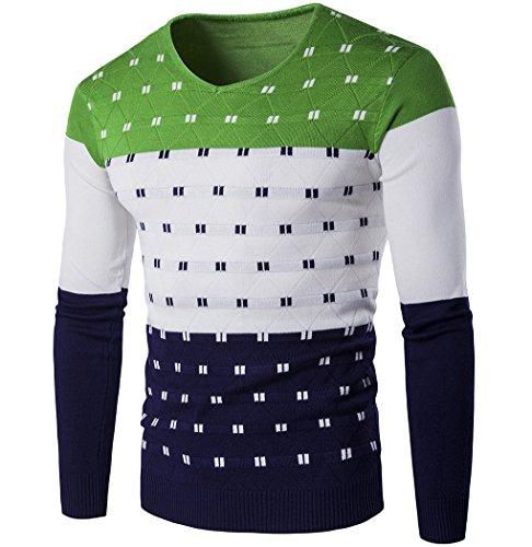 LemonGirl Mens Casual Schlank Farbblock Strickpullover Pullover (Stricken Shirt Mens Golf)