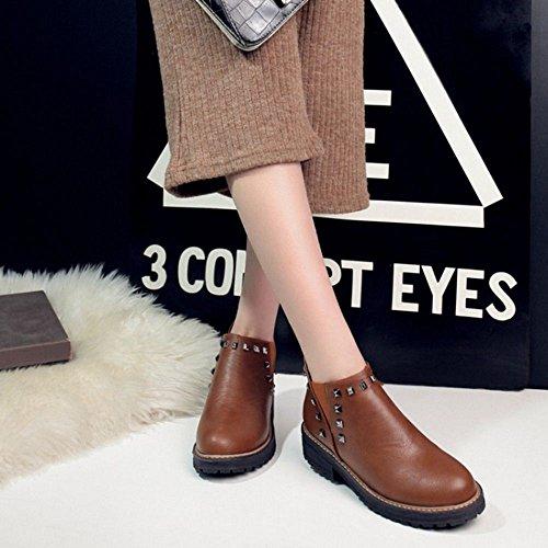 COOLCEPT Damen Freizeit Niedrige Chelsea Boots Stiefeletten Braun