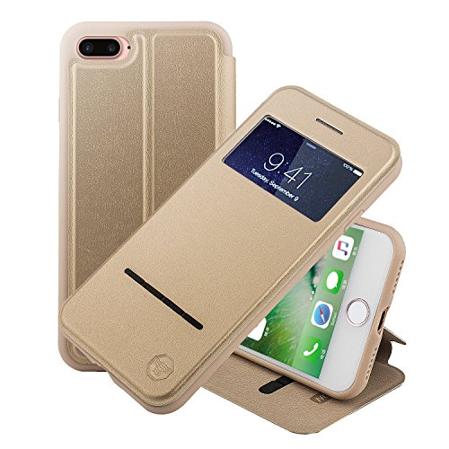 iPhone 8 Plus 5.5 Zoll hülle Etui Smart Touch S View Window Leder Wallet Klapphülle Flip Book Case TPU Cover Bumper Ultra Slim Rundumschutz, Gold ()