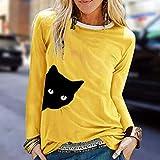 VEMOW Pullover Sudadera Mujer Casual Gato Impresión Camisas Cuello Redondo Manga Larga Parte Superior Suelto Camiseta Blusa Abrigos Chaqueta Otoño Invierno(Amarillo,L)