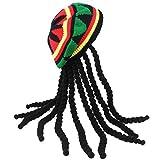 Erwachsene Kostüm jamaikanischer Rasta Hut mit Dreadlocks