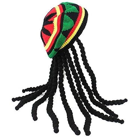 adultes Déguisement Jamaican Rasta chapeau avec dreadlocks
