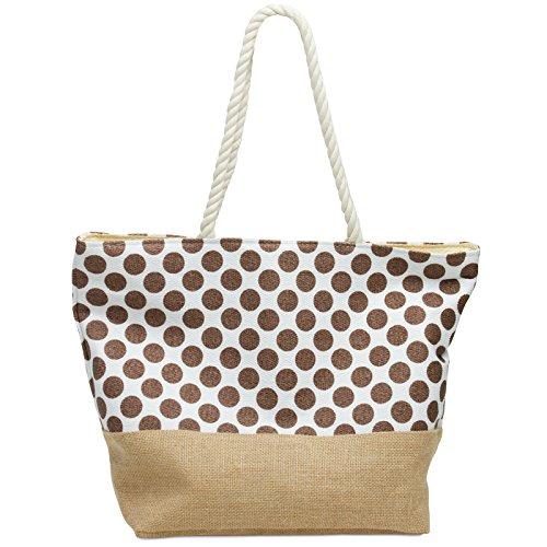 CASPAR TS1036 große Damen Strandtasche / Shopper mit PUNKTE Muster Reißverschluss und Jute Boden, Farbe:braun;Größe:One Size (Bast-shopper)