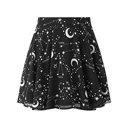 Qijinlook Falda Corta Gotica Mujer/Mini Falda Plisada Mágica Negra/Rodilla Falda,Falda Corta Negra Luna Estrellada Cielo Estampado Punk Falda elástica. (M)