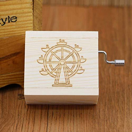 BYBAY Music Box 7 Arten der Wahl Hand-Cranked hölzerne Spieluhr Geschenk geeignet für Weihnachten Geburtstag Happy Gift Year Kinder Geschenk Größe, 04 -