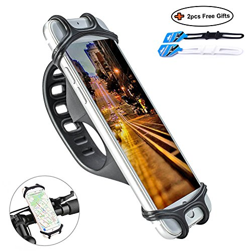 Apzek Fahrrad Handyhalterung, Universal Silikon Handy Halter Fahrradhalterung Motorrad Smartphone Handyhalter Fahrradhalter Für Telefone Mit 4-6 Zoll (Schwarz)