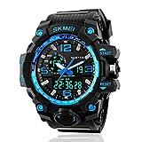 Reloj deportivo masculino, diseño moderno con luz LED, esfera analógica y digital, estilo militar, resistente al agua, color azul