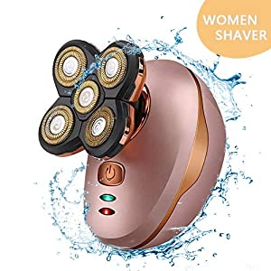 Mini Portable Flawless Head Leg Facial Beard Remover Shaver Electric Trimmer Grooming kit Women's Professional Cordless Electric Waterproof Razor with 5 Floating Head Fast USB Recharge Shavers ...