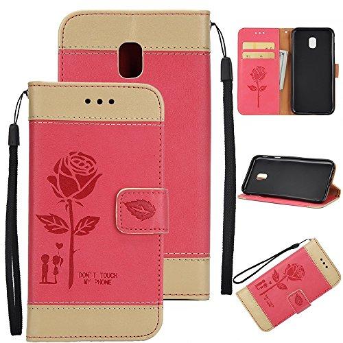 EKINHUI Case Cover Gemischte Farben Rose Blume matt Premium PU Leder Brieftasche Stand Case Cover mit Lanyard & Card Slots für Samsung Galaxy J730 ( Color : Gold ) Red