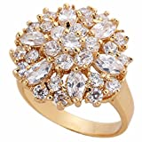 Women White Gold Plated Diamond Ring Crystal Copper Flower Shaped Wedding Ring