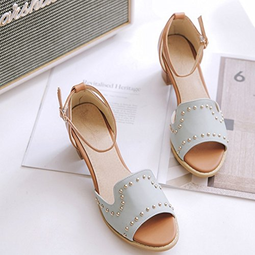 TAOFFEN Damen Gladiator Peep-toe Mid Heel Sandalen Buckle Strap Wedding Shoes Blau