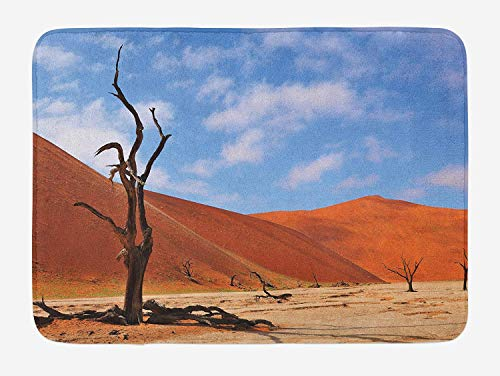 ziHeadwear Nature Bath Mat, A Lonely Tree Skeleton at Deadvlei Namibia African Sandy Desert Landscape Picture, Plush Bathroom Decor Mat with Non Slip Backing, 23.6 x 15.7 Inches, Brown Blue