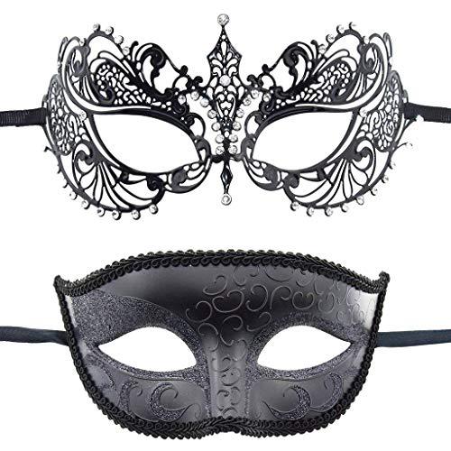RXBC2011 2pcs Spitze aus Kunststoff Metal Maskerade Kostüm Maske für Männer Frauen Party Ball Halloweenmaske