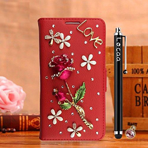 Locaa(TM) Pour Apple IPhone 7 Plus IPhone7+ (5.5 inch) 3D Bling Rose Case Coque Fait Love Cuir Qualité Housse Chocs Étui Couverture Protection Cover Shell Phone Nous [Rose 1] Blanc - Rose Bleu Rouge - Rose Rose