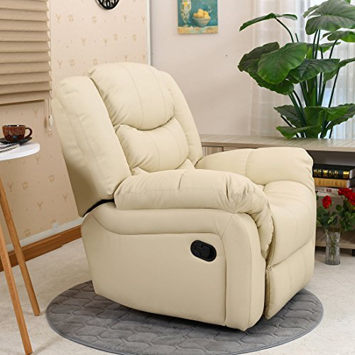 SEATTLE LEATHER RECLINER ARMCHAIR SOFA HOME LOUNGE CHAIR RECLINING GAMING (Cream)
