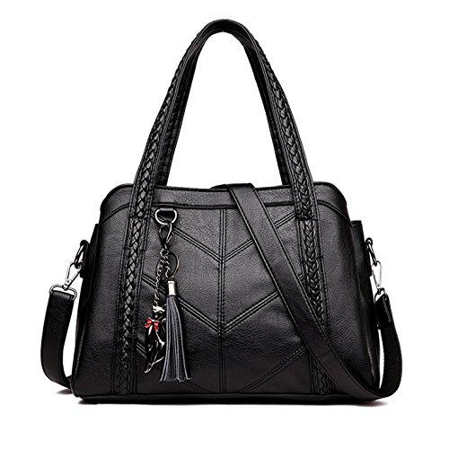 HeHe Damen Handtasche Damen PU-Leder Henkeltasche Elegante Umhängetasche für Damen weibliche Schultertasche(Schwarz-4)