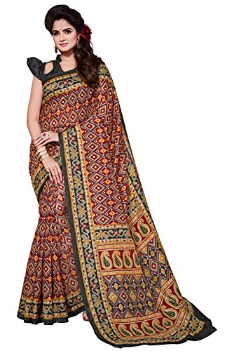 Classic Enterprise Sarees Daily Wear Stripe & Geometric Print Multi-Color Cotton Sari With Blouse (Malgudi-4477)