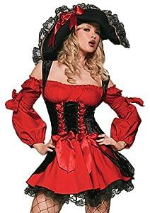 Leg Avenue- Mujer, Color rojo y negro, Medium (EUR 38-40) (3241140002)