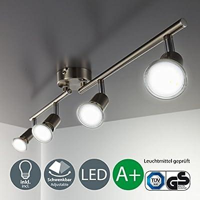 LED ceiling light rotatable I spotlight for kitchen, living room & bedroom I ceiling lamp I spot I warm white I metal I matt nickel design I 4 x 3 W illuminant I 230 V I GU10 I IP20 - inexpensive UK light shop.