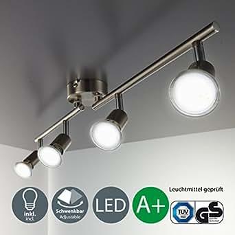 LED Deckenleuchte Schwenkbar Inkl. 4 x 3W Leuchtmittel GU10 IP20 LED Strahler Deckenlampe Spots Wohnzimmerlampe Deckenspot LED Deckenstrahler Warmweiss Metall Matt Nickel 4 x 250lm 4 Flammig drehbar