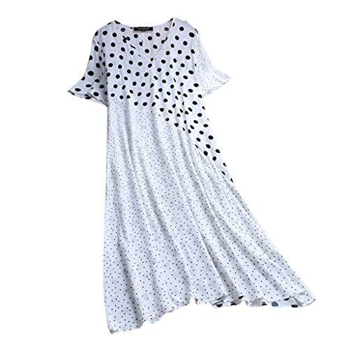 Lazzboy Mode Frauen Casual Dot Print V-Ausschnitt Kurzarm Patchwork Langes Kleid Sommerkleid Damen Lang Mit Drucken High Waist Elastische Strandkleider Maxikleider(Weiß,4XL)
