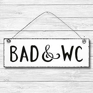 Bad & WC – Türschild Dekoschild Wandschild Holz Deko Schild 10x30cm Holzdeko Holzbild Deko Schild Geschenk Mitbringsel…