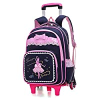ZOUQILAI Rolling Backpack for Girls School Bags, Wheeled Backpack Roller Backpack School Aluminium Alloy Folding Trolley Cart with 6 Wheels Pink (Color : Black)