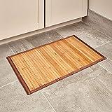 iDesign Alfombra antideslizante, alfombra de madera de bambú de tamaño pequeño, alfombrilla de baño y aseo...