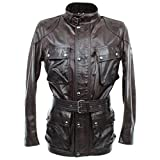 Belstaff Giacca Uomo 71050503 Trialmaster Panther Black Brown Pelle Marrone