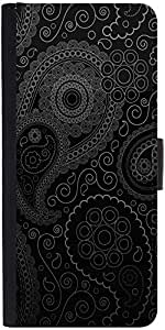 Snoogg Paisely Pattern Blackdesigner Protective Flip Case Cover For Samsung G...