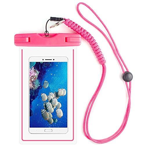 Auben Funda Impermeable La bolsa seca Bolsa del teléfono celular Con la cuerda de seguridad militar de la correa Para Kayak Esquí Trineo Canotaje Surf Para el iPhone 6 6S Plus 5S SE Samsung Galaxy S7 S6 S5 S4, LG G4 G5 G3 (Rosado)