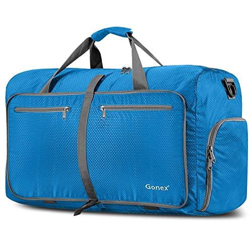 Tasche Falten (Gonex Leichter Faltbare Reise-Gepäck 80L, Farbe: Schwarz, Duffel Taschen Uebernachtung Taschen/Sporttasche für Reisen Sport Gym Urlaub)