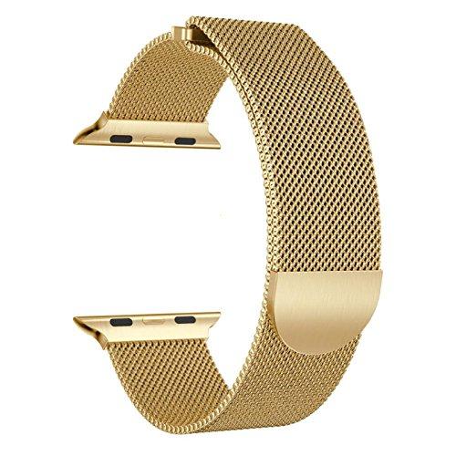 Komise Étude confortable Milanaise magnétique en acier inoxydable Bracelet de montre pour Apple Watch Série 342mm Taille unique doré