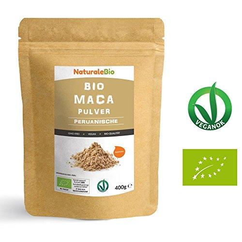 Maca Pulver Bio [ Gelatiniert ] 400g | Natürlich und Rein, hergestellt in Peru, extrakt aus Bio Maca Wurzel | Superfood reich an Aminosäuren, Ballaststoffen, Vitaminen und Mineralien | NATURALEBIO