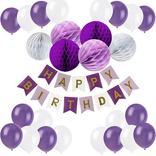 Recosis Eburtstag Dekoration, Happy Birthday Girlande mit Luftballons Latexballons und Wabenbälle Papier für Geburtstag Dekoration - Violett