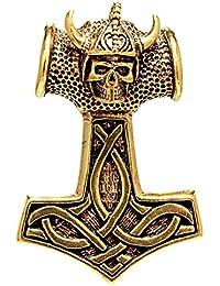 Thorshammer 925 Silber Anhänger Band Totenkopf Wikinger Skull Helm Kopf Nr 152