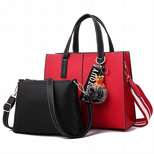 YTTY Fashion Bear Anhänger Schultertasche Einfache Handtasche High-Volume-Quilt-Tasche, Weinrot (Quilt Tasche)