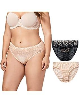 Delimira Low Rise Braguita con Encaje Bikini para Talle Bajo Mujer Talla Grande, Pack de 2