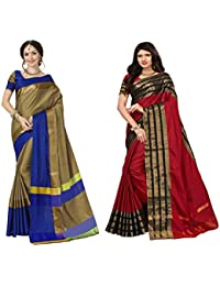 Art Decor Sarees Women's Cotton Silk Multi Color Saree With Blouse - Combo Of 2 Saree