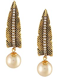 Dg Jewels Leafy Pearl Dangler Earrings- ER067
