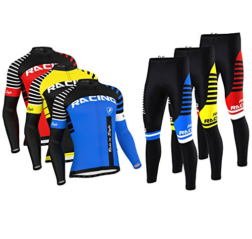 657965c9c5 FDX Mens Blaze Cycling Jersey Cold Wear Thermal Top + Cycling Tights Pants  Set