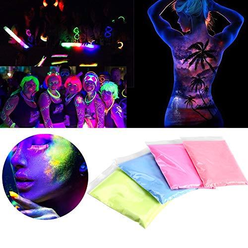 Fluoreszierendes pulver, 4 farben helle fluoreszierende farbe pulver DIY pigment nagellack beschichtung nachtleuchtende pulver(4 Farben) -