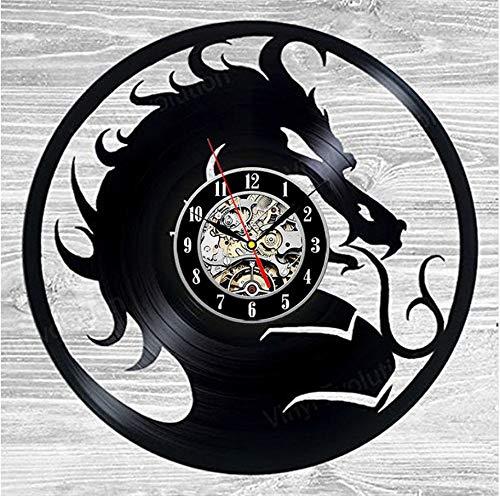 QUTICL Hollow Dragon CD Record Wall Clock 3D Vinilo Colgante Reloj de Pared Vintage Modern Home Decoration Reloj Hecho a Mano Personalizado Reloj