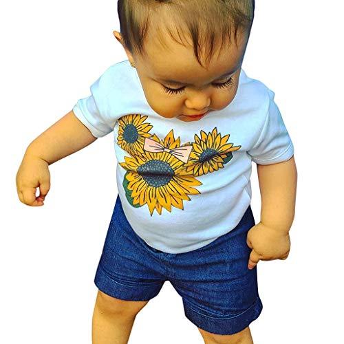 Kinderkleidung Kleinkind Kids Baby MäDchen Outfits Kleidung Blume T-Shirt Flower Strapless + Star Mesh Rock 2 StüCk Babybekleidung für Mädchen (Prinzessin Handgemachte Kleider Disney)