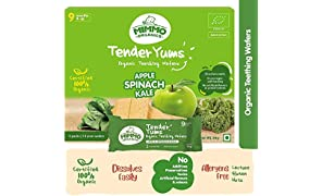 Mimmo Organics Tender Yums , 100% Certified Organic , Apple Spinach Kale , Lactose and Gluten Free Teething Biscuits , Baby Snack - 84g
