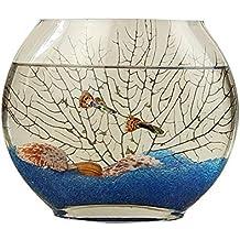 Creativa boca plana pecera de vidrio jarrón ovalado, ultra blanco claro transparente Vidrio soplado pecera